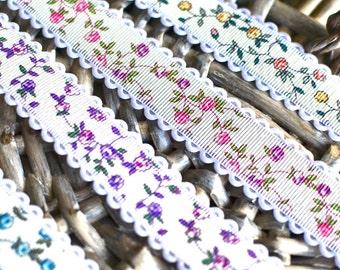 Grosgrain floral ribbon I Grosgrain ribbon I Decorative ribbon I Gift wrapping ribbon I Ribbon I Floral ribbon I Bow making ribbon I Floral
