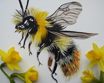 Original oil painted bumblebee