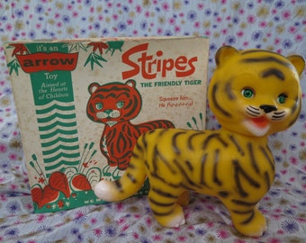 Edward Mobley, Arrow Rubber and Plastics, Stripes the friendly Tiger, in original packaging, sleep eyes, 1965