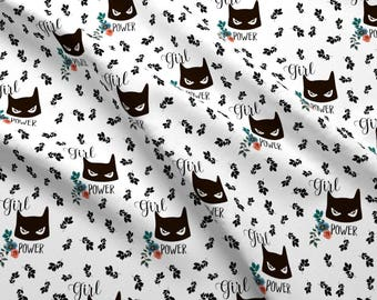 "Girl Power Fabric - 7"" Girl Power By Rebelmod - Black And White Cotton Fabric By The Yard With Spoonflower"
