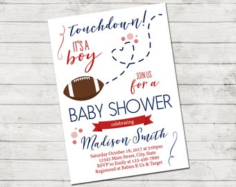 Football Baby Shower Invitation - Football Baby Shower - Football and Heart - Blue and Red - Printable