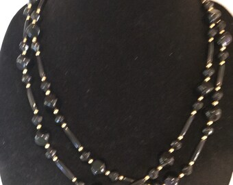 Long Black Gold Odd Shaped Bead Necklace
