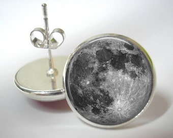 Full Moon Earrings - Button Stud Earrings - Silver Finish - Matching Pendant Available