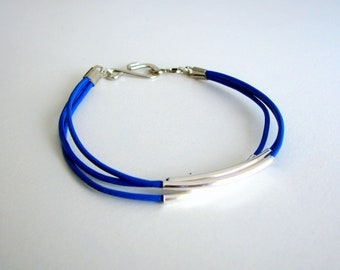 Thin Blue Leather Bracelet with Silver Tubes