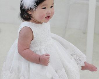 Set i-Baby Christening Dress(Bonnet+Bloomer+Shortdress), Handmade, Baptism Dress, Party Dress, White Dress, Infant dress, Cotton Dress
