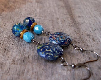 Blue Earrings - Boho Earrings - Long Dangle Earrings - Gift for Her - Gift for Wife - Statement Earrings - Long Earrings - GB2017 Series