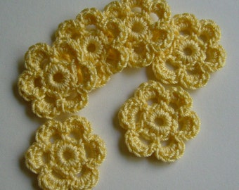 Yellow Crocheted Flowers - Cotton Flowers - Crocheted Flower Embellishments - Crocheted Flower Appliques - Set of 6