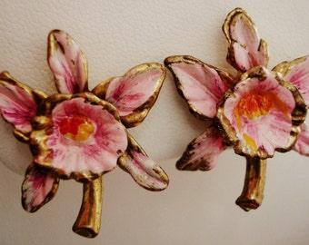 Vintage Pink Orchid Screw Back Earrings - Hand Painted - Gold Plastic - Funky, Fun Accessory!!