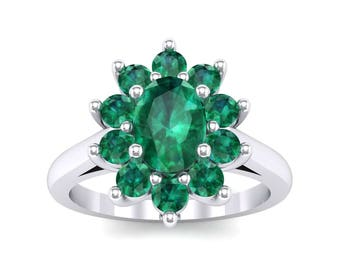 Lotus Oval Cluster Halo Emerald Ring, Halo Ring, Engagement Ring, Ring, Emerald Ring, Emerald Jewelry, Gift For Her, Gift