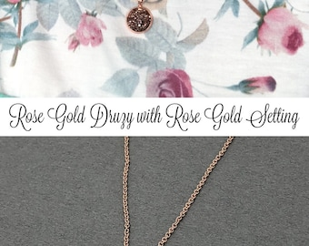 Rose Gold Necklace, Druzy Necklace, Mother's Day Gift, Bridesmaid Gift, Druzy Jewelry, Crystal Necklace, Wedding Jewelry, Druzy Pendant