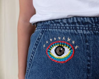 Upcycled Hand Embroidered Eye Denim Skirt Size Extra Small