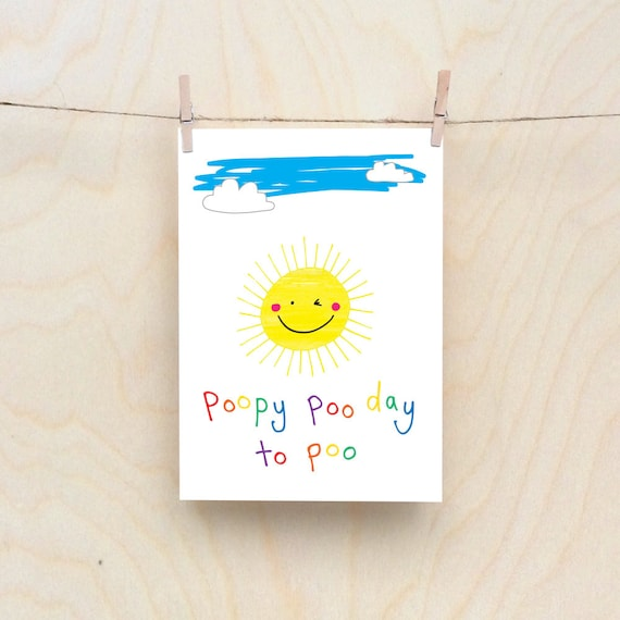 Poopy Sun Card, Rude kids cards, Silly Children's cards, Toddler rude words card. kids birthday card, funny kids card. funny birthday card.
