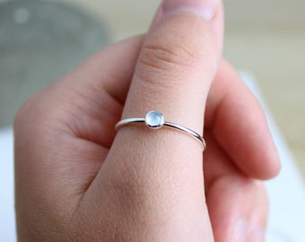 Aquamarine Ring - Dainty Stacking Jewellery - Thin Gemstone Ring - Delicate Ring - Minimalist Stacking Ring - Silver Boho Stack - Layer Ring