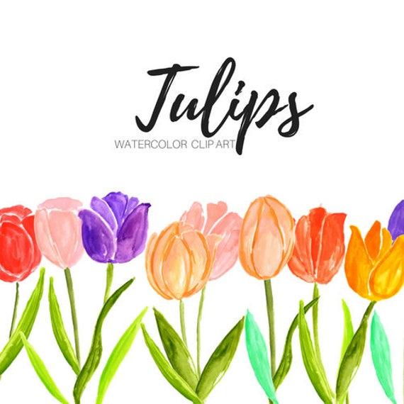 tulip clipart flower clip art floral clip art watercolor rh etsy com tulip clip art free tulip clip art free