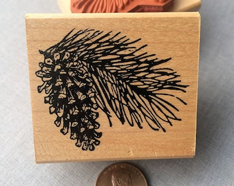 Pine Cone and Branch Rubber Stamp