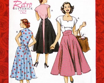 Butterick Sewing Pattern B6212, Wrap Dress, Sweetheart Neckline, Misses' Sizes 6 8 10 12 14, Retro 1950's New Look MCM Summer Fashion, UNCUT