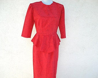 Red Woman's Dress, Ladies Short Sleeve Dress 1980s Dress, Red Dress with Black, Shoulder Pads,Red Fashions, Red,Empire Clothing
