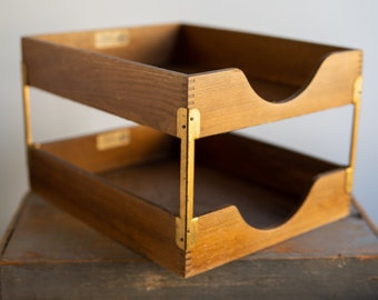 Hedges Files 2 Tier Wooden Paper Organizer - Vintage Office / Desk Supplies