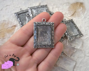 1 Cabochon setting 40x28 mm + 1 clear glass 18x25 mm - antique silver tone - SP81-186