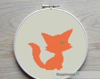 cross stitch pattern fox, fox silhouette, modern cross stitch, PDF,  ** instant download**