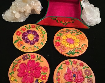 Stunning Custom Tooled Leather Floral Coaster Set (4) with Leather Tray