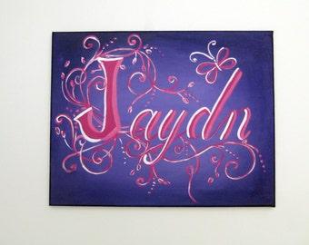 Name Art for girls,purple,fuchia,wall art,wall sign,room decor,girls wall art,girls wall hanging,name art,personalized girl gift,girl gift