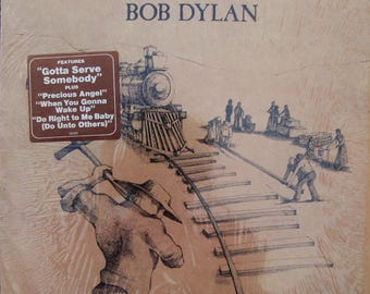 BOB DYLAN Slow Train Coming Nm Vinyl Record Vintage Stereo 1979 FREE Ship Cover in Shrink Wrap Gotta Serve Somebody Folk Classic Rock