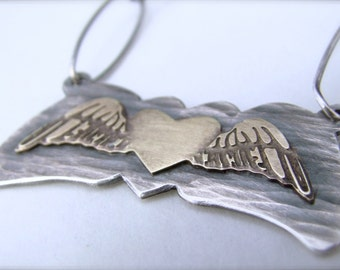 Heart in Wings Necklace Sterling Silver and Brass Pendant
