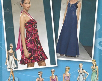 Project Runway Womens Evening Gown with Bodice Variations Hi Low Hem Simplicity Sewing Pattern 3501 Size 4 6 8 10 12 Bust 29 1/2 to 34 FF