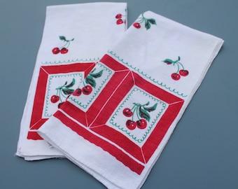 Pair of Vintage Startex Red Cherry Fruit Kitchen Tea Towels, Cotton Linen Blend, 29 x 14