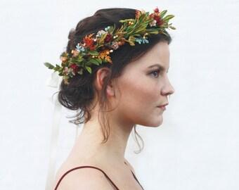 Rustic Tuscan Floral Crown, Wildflower Headpiece, Flower Crown, Floral Hair Wreath, Bridal Flower Crown, Flower Crown, Bohemian Bride, Boho