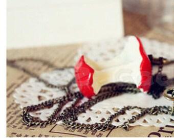 1 1/2 inch long WHIMSICAL>>  Red Apple Core Resin Pendant, Teacher Gift Idea