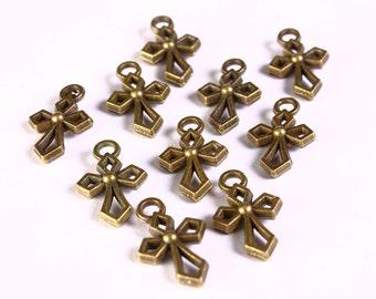 Petite cross charm - Antique brass charm - Cross pendant - 17mm x 10mm (1296)