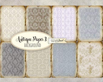 Antique Paper 3 - background cards - digital collage sheet - set of 8 - Printable Download