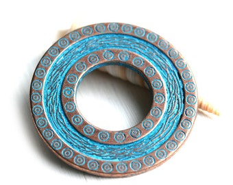 40mm Large Ornament Round pendant, Circle, Disk, Donut, Blue patina on copper, Greek metal casting - 1pc - F470