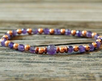 Amethyst Mala Bracelet, Yoga Bracelet, Meditation Bracelet, Energy Bracelet, Copper, Chakra Bracelet, Crown Chakra, Stress