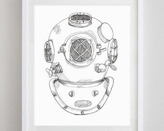 Scuba Helmet Drawing Print