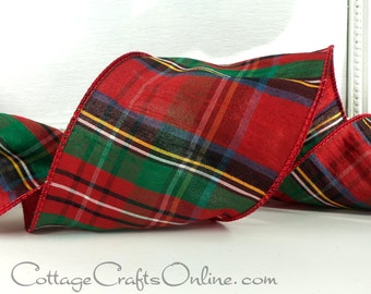 "Christmas Wired Ribbon, 4"" wide, Red Green Faux Dupioni Tartan Stripe Plaid - TEN YARD Roll - ""Highland"" Decor Craft Wire Edged Ribbon"
