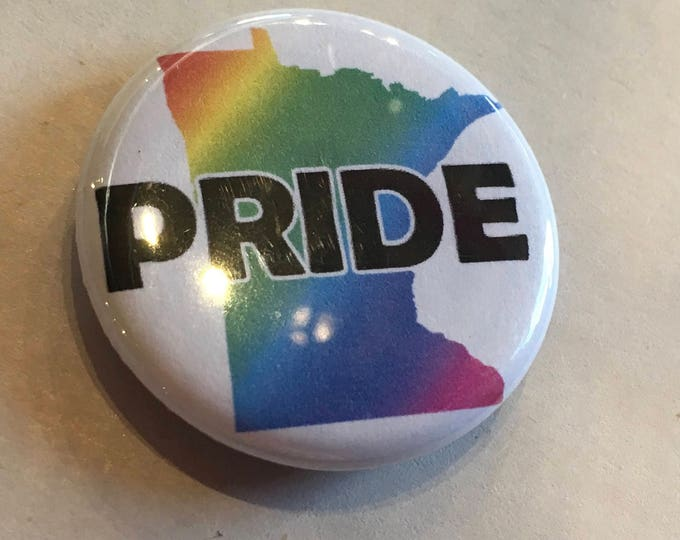"MN Pride Button or Magnet 1.25"" Minnesota Rainbow Pinback Flair"