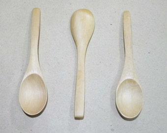 3 Mini Wooden Spoon - Baby, Honey and Bath Salt Jars, Seasonings, Jelly and Jam