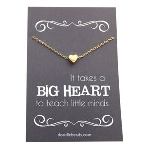 "Teacher gifts - Tiny Gold or Silver Heart  or Apple Necklace - Teacher appreciation carded gift ""It takes a big heart to teach little minds"""