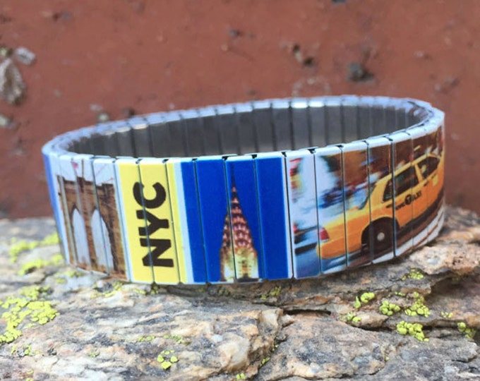 New York bracelet, New York, NYC, Stretch Bracelet, Sublimation, Repurpose watch band, Stainless Steel, Wrist Band, gift for friends