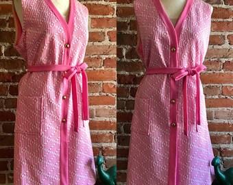 Vintage 1950's/1960's Sleeveless Pink Belted Geometric Dress