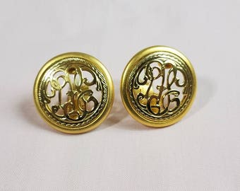 VINTAGE Goldtone Round/Circle Large Clip-On Earrings