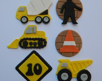 12 edible TRUCKS CONSTRUCTION BUILDING traffic car cake decoration cupcake topper decoration party anniversary birthday engagement valentine
