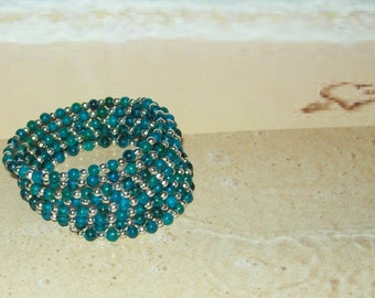 MW-54 - Dyed Australian Jasper Beaded Memory Wire Bracelet
