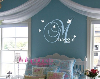 Girls Room Wall decal butterfly design - Custom name wall decal - Nursery Wall Decal - Butterfly wall decal