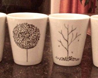 Mini mug coffee porcelain hand painted 4 seasons