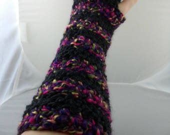 Multicolored and Black Striped Crocheted Arm Warmers (size S-M) (SWG-AW-SH14)