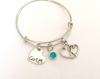 Childrens bangle - just like mommy - Custom personalized name bangle with Birthstone crystal on a Silver adjustable Bangle
